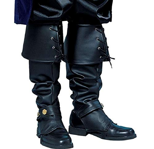 Forum Novelties Mens Deluxe Adult Pirate Boot Covers with Studs, Black, One Size