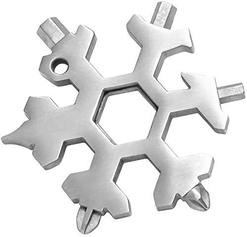 Set di 2 Attrezzi Multiuso 18 in 1, Regali Natale 18 in 1 Multi Tool Snowflake, Apribottiglie Portatile Piatto Phillips Cacciavite Kit Chiave Regalo di Natale White