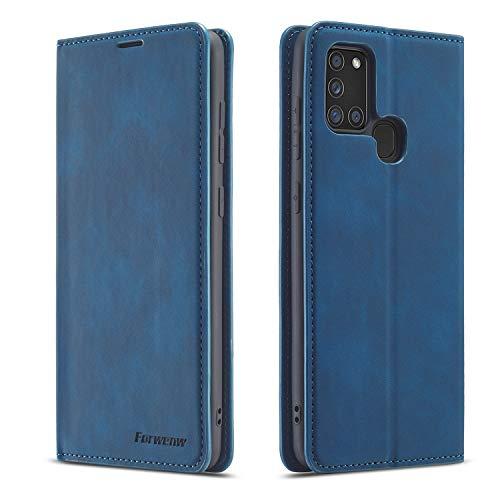 QLTYPRI Hülle für Samsung Galaxy A21S, Premium Dünne Ledertasche Handyhülle mit Kartenfach Ständer Flip Schutzhülle Kompatibel mit Samsung Galaxy A21S - Blau