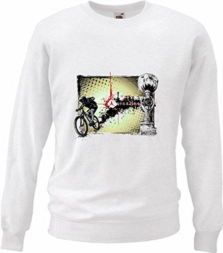 Adrenaline BTT fietspullover, voor mountainbike, fietsreparatie, wit