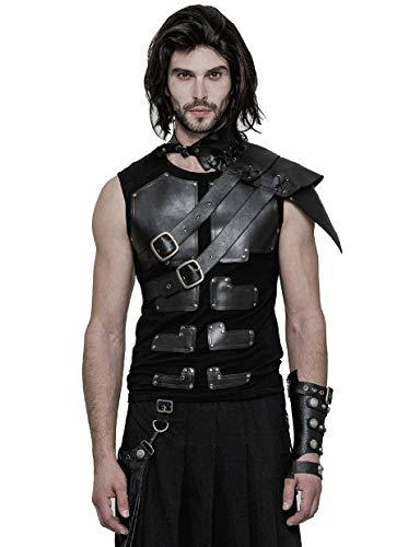 Punk Rave Schwarzer Steampunk Gothic Cosplay Leder One-Shoulder Kragen Kostüm Zubehör für Herren, Schwarz, M
