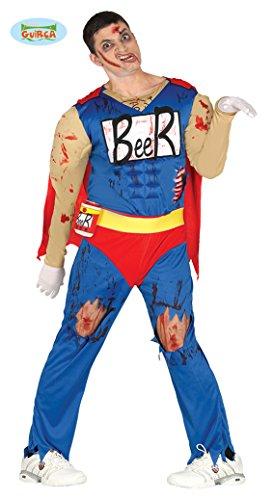 Beerman Superheld Zombie Halloween Kostüm Kostüm für Herren Bier blutig blau rot Cape Muskeln Gr. M/L, Größe:M