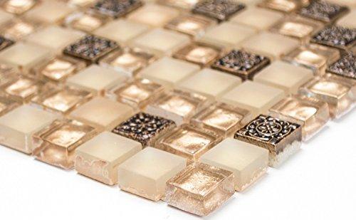 Mosaik-Netzwerk Quadrat Crystal/Stein/Resin mix beige/beige matt Glas Naturstein Ornament Fliesenspiegel, Mosaikstein Format: 15x15x8 mm, Bogengröße: 60 x 100 mm, 1 Handmuster ca. 6x10 cm