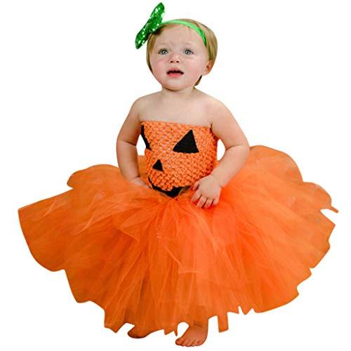 Yanhoo Kleinkind Kinder Baby Mädchen Halloween Cosplay Tutu Kleid Party Kleidung (12M 12T) DT 1929 Ärmelloses Double Kürbis Hexenkostüm Uniform Leistungskostüm für(Orange,XL)