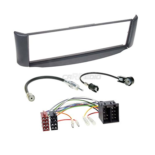 Carmedio Smart ForTwo 98-07 1-DIN Autoradio Einbauset in original Plug&Play Qualität mit Antennenadapter Radioanschlusskabel Zubehör und Radioblende Einbaurahmen grau