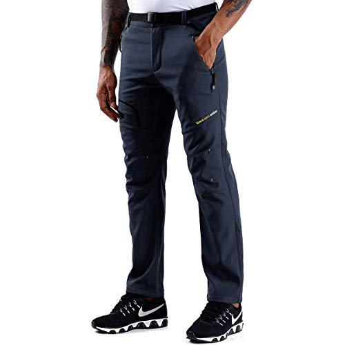 ZOEREA Hombre Pantalones de Trekking Impermeable Invierno Polar Forrado Hombres Pantalones Escalada Senderismo Montaña Aire Libre (Estilo 1 Azul Oscuro(Sin Polar Forrado), S)