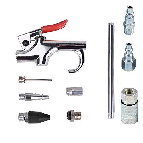 KingBra 1 juego de pistola de soplado de aire y 1 pistola de presión de aire para neumáticos con mandril de bloqueo