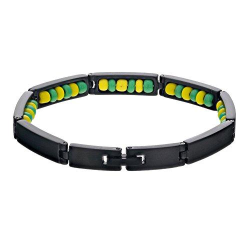Pulsera Ilde de Orula en acero inoxidable negro de In Season Jewelry, con piedras de color verde y amarillo, para santero babalao, de 20 cm aproximadamente