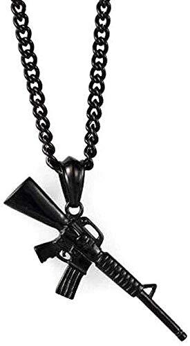 MNMXW Collar Collar de policía de Acero Inoxidable Accesorios para Hombres Rifle de Hip Hop Collar con Colgante de Acero de Titanio Blanco-Negro Regalo para Mujeres Hombres