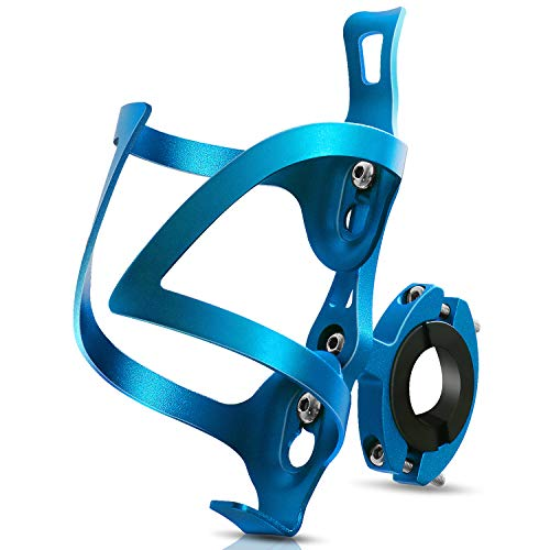 Bike Cup Holder Bicycle 2in1 Bottle Bracket Aluminum Alloy Water Bottle Cages Universal Rotation Cup Drink Holders for Motorcycle MTB Wheelchair Baby Stroller Trolleys Tools Free Blue