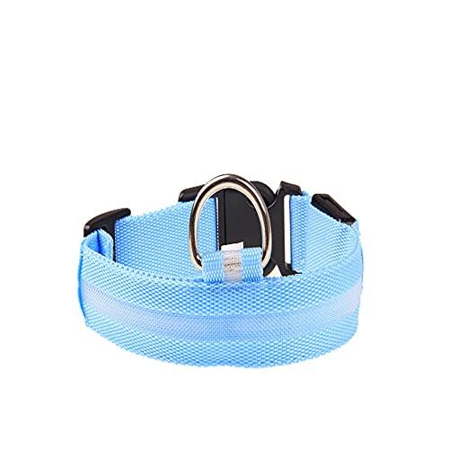 ZZCR Collar De Perro Mascota Luz Led Collar Luminoso para Perro Collar Luminoso Luminoso De Nailon para Mascotas Collar De Seguridad para Perro Azul S