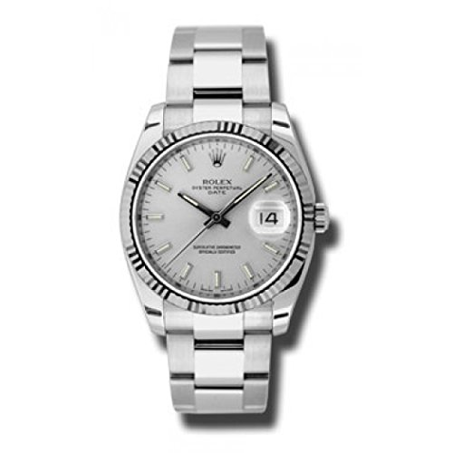 Rolex Oyster Perpetual Date 34 Silver Dial Stainless Steel Rolex Oyster Automatic Mens Watch 115234SSO