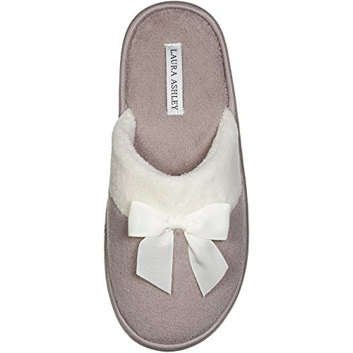 Laura Ashley Ladies Terry Scuff Slipper with Bow, Grey, Large