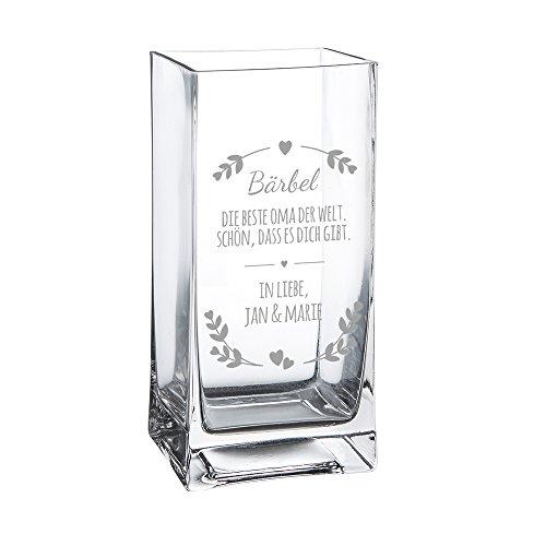 Casa Vivente Blumenvase mit Gravur Beste Oma der Welt, Personalisiert mit Namen, Glasvase für Schnittblumen, Deko-Vase als Muttertagsgeschenk, Geschenkidee für Großmütter