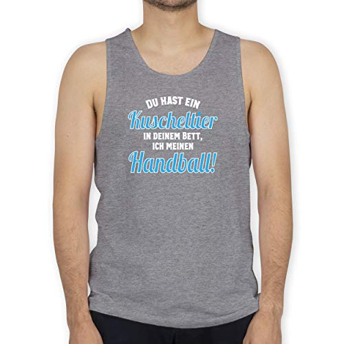 Shirtracer Handball - Du hast Dein Kuscheltier im Bett, ich Meinen Handball! - 3XL - Grau meliert - Tank Top - BCTM072 - Tanktop Herren und Tank-Top Männer