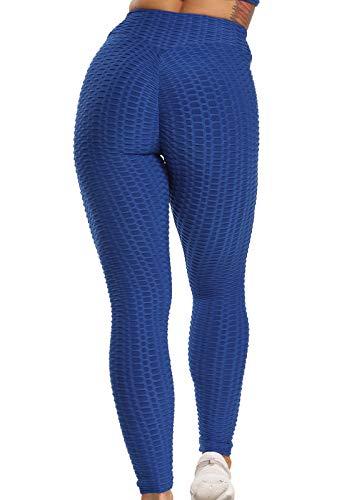 FITTOO Leggins Sportivi Donna Push up Pantaloni Tuta Yoga Pants Sexy Fitness Ginnastica Alta Elastico, S, Blu