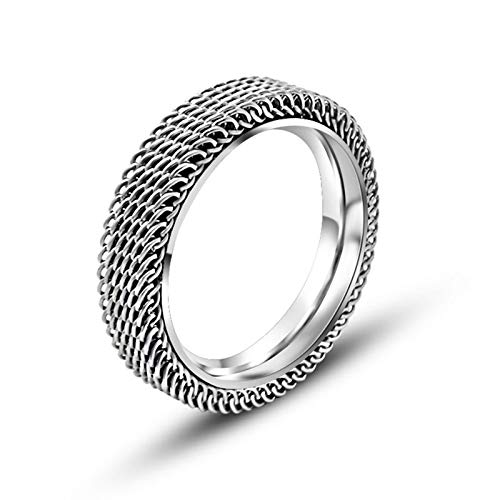 AueDsa Ring Edelstahl Unisex Silber Ringe Runde Masche Ringgröße 49 (15.6)