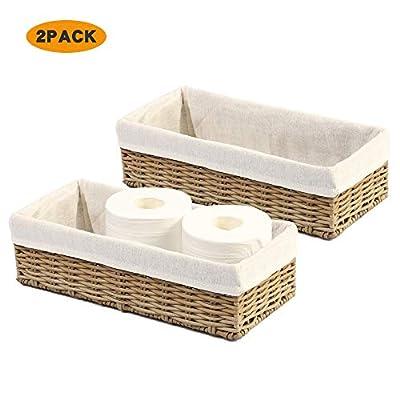 HOSROOME Bathroom Storage Organizer Basket Bin Toilet Paper Basket Storage Basket for Toilet Tank Top Decorative Basketfor Closet, Bedroom, Bathroom, Entryway, Office(Beige)
