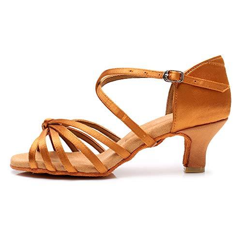 YKXLM Zapatos de Baile Latino marrón para Mujer Salsa Tango Ballroom Practice Sandalias de Rendimiento,Modelo ES-LP1217-ZSZK-5.5CM,4 UK / 36.5 EU / 23 CM