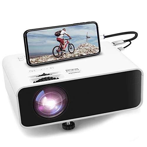 Mini Movie Projector, Jimwey 1080P Supported Portable Video Projector, with 45000 Hrs LED Lamp Lifeith TV Stick, PS4, HDMI, USB, AV, DVD for Home Entertainment [2020 Upgraded]