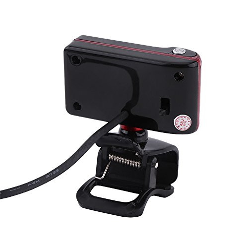 Richer-R HD Webcam, 16.0M Pixel HD Webcam,USB HD Webcam mit 3 LED-Lichter,Digital Video HD Eingebautes Mikrofon LED-Leuchten Webcam für PC Computer 3 Farben(Red+Black)
