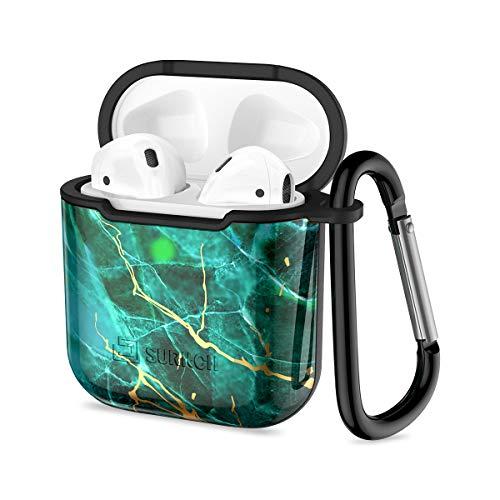 SURITCH Kompatibel mit Airpods Hülle Unterstützt kabelloses Laden AirPods Tasche Marmor Muster Ultraleicht Kratzfestes Gehäuse für AirPods 1&2 Aufladen Case (mit Karabinerhaken, Marmor Grün)