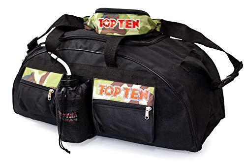 TopTen TOP Ten ® 80 x 40 x 40 cm Camouflage Sporttasche + Bauchtasche Kickboxen Kick-Boxen, Thaiboxen Muay Thai, Tasche, Trainingstasche, Kickboxtasche Bag, schwarz rot 80019005 Budoland