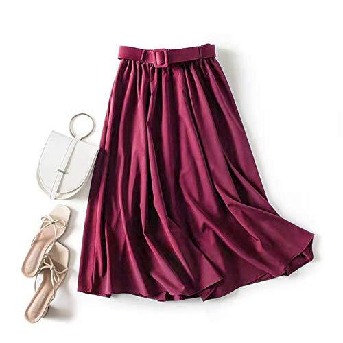 MU-PPX Falda Larga De Mujer con Cinturón Femme A-Line Falda Plisada Sólida De Cintura Alta Falda De Longitud Media Faldas Jupe Femme,Vino,