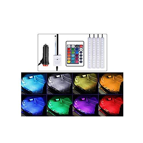 Z&LEI 4 Luces Ambiente Interior Coche, Kit iluminación Interior Espacio los pies Coche Tira Luces Decorativas neón con función Activa Sonido y Control Remoto Infrarrojos,Cigarette Lighter