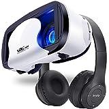 Audífonos Inalámbricos Bluetooth, Auriculares Bluetooth Diadema Plegables HiFi con Micrófono Incorporado y Control de Volumen(con 3D VR Gafas) compatibilidad por Android/Phone