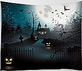 Amiiba - Tapiz de pared, diseño de calabazas para Halloween, diseño de maderas encantadas y terroristas, decoración del hogar para dormitorio, sala de estar (calabazas, M - 149,8 x 129,5 cm)