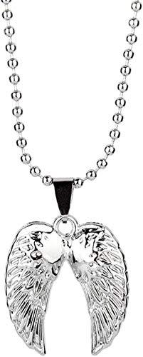 NC190 Collar de Moda Hip-Hop con alas de ángel, Collar con Colgante de Doble Pluma de Acero Inoxidable, pequeño Collar de Regalo para la Infancia, Plata
