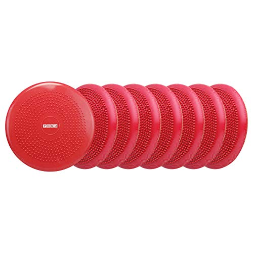 YOGU Inflated Air Stability Wobble Cushion w Air Pump Anti-Burst Wiggle Seat Inflatable Exercise Fitness Core Balance Disc for Better Seating Therapy Sensory Cushion for School Chair (Red 8 Pack)