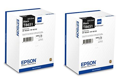 2X Original Epson XL Tintenpatrone T8651 T 8651 für Epson Workforce Pro WF M 5690 DWF - Black - Leistung: ca. 10000 Seiten/5%