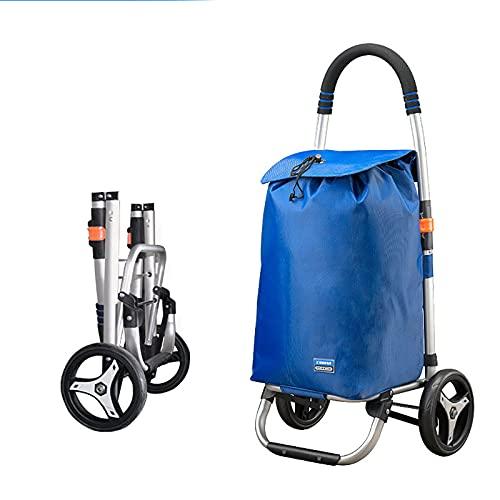 FVIWSJ Carro de Compras Plegable con 6 Ruedas, Carro Compras para Subir Escaleras,Carro de Supermercado con Bolsa de Lona Impermeable Extraíble,Azul,2l