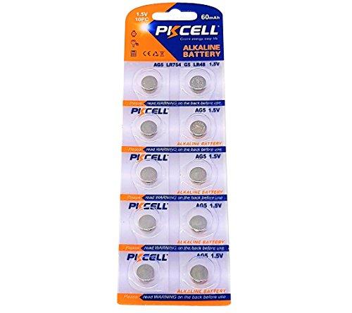 10 x AG5 1,5V Quecksilberfrei 60 mAh ( 1 Blistercard a 10 Batterien ) LR48 193 754 Markenware PKCELL
