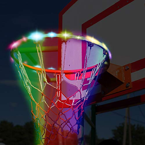 Great Deal! Basketball Hoop LED Lights Automatic Light Perception Waterproof Solar Energy Recharge B...