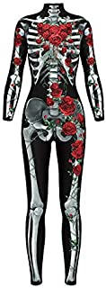 Halloween 3D Stampa Digitale Thorn Red Rose Body Skeleton Ladies Tight Party Performance Costume Cosplay Costume XXL A