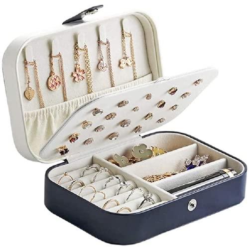 Makfacp Caja de Almacenamiento de Caja de joyería de Cuero de PU Caja de Almacenamiento de joyería portátil para Mujer