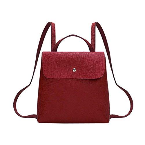 Beikoard borsale Borsa a Tracolla Zaino da Donna in Pelle di Colore Puro Fshion per Donna (Rosso)