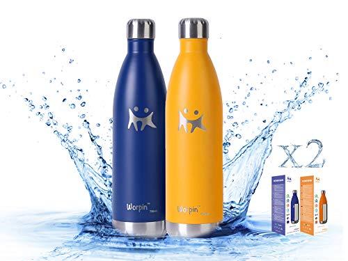 WORPIN, Pack Botellas Termo de Agua de Acero Inoxidable 500/750ml. Térmica Doble Pared Aislante, Fácil de Limpiar Camping, Deportes Colegio