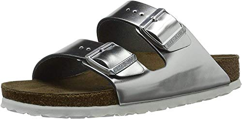 BIRKENSTOCK Damen Arizona Leder Softfootbed Pantoletten, Silber (Metallic Silver), 41 EU