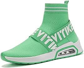 JMFCHI Womens Walking Shoes Sock Sneakers Girls Running Shoe Hip Hop Dance Sneaker Mesh Air Cushion Slip-on Lightweight Breathable Fashion Platform Green Size 10.5
