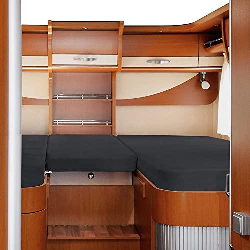 Erwin Müller Spannbettlaken 3er-Set f. Wohnmobil/Wohnwagen Heckbett Single-Jersey Single-Jersey,anthrazit 80x200(2x)+45x135 cm