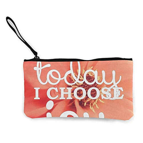 TTmom Carteras de Mujer, Monedero, Today I Choose Joy Cosmetic Makeup Bag Zipper Closure Coin Purse Wallet Custom Phone Pouch with Handle for Women, Girls, Boys