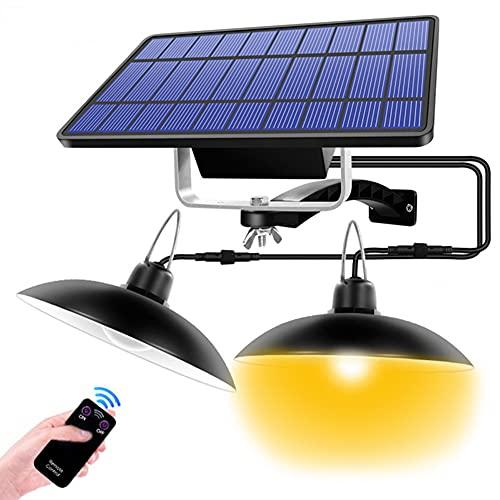 Puhui Lámpara solar colgante IP65 resistente al agua 120 ° ajustable exterior lámpara solar jardín lámpara solar portátil con mando, para balcón, jardinera, camino, patio, césped y terraza