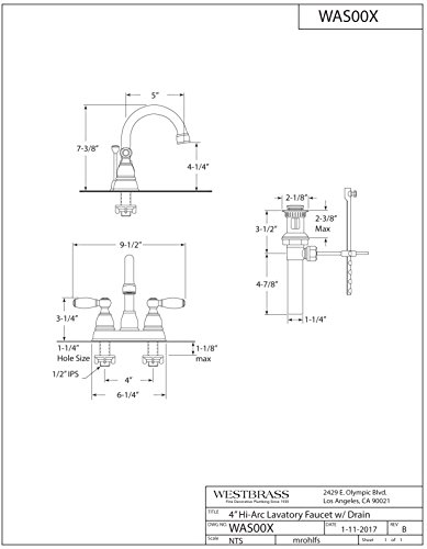 Westbrass WAS00X-26 2-Handle Hi-Arc Spout Centerset Bathroom Faucet, Polished Chrome