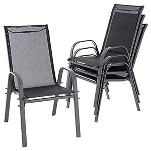 Nexos 4er Set Gartenstuhl Camping Stapelstuhl Hochlehner Terrassenstuhl – Textilene Stahl stapelbar – Farbe: Rahmen…