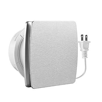 Hon&Guan 6 Inches Home Ventilation Fan 141 CFM Bathroom Garage Exhaust Fan Wall Mount Fan for Kitchen/Bathroom Super Silent Energy-saving,Strong Exhaust Silver