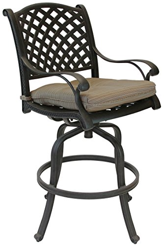 Nassau Outdoor Patio 4 Swivel Barstools 30' High Cast Aluminum Dark Bronze, Walnut Cushions